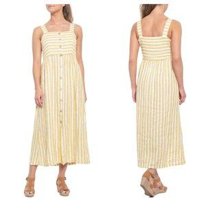 RACHEL ZOE Farm Stripe Linen Maxi Dress Yellow RR7